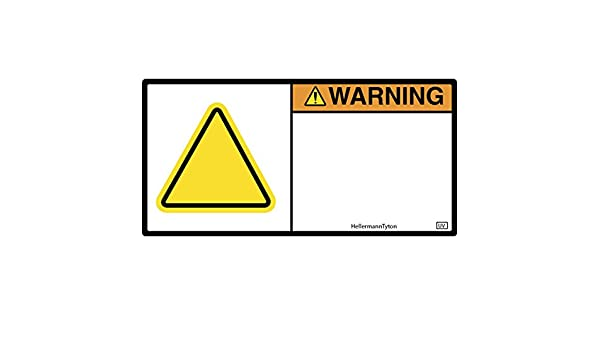 1.35 X 2.75 Hellermann Tyton Pack of 250 HellermannTyton 596-00644 Pre-Printed Signal Word Label 1.35 X 2.75 UV Stabilized Orange//White WARNING with Yellow Triangle