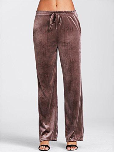 YiLianDa Donna Elegante di Velluto Pantaloni a Zampa Gamba Larga Pantaloni Palazzo Marrone