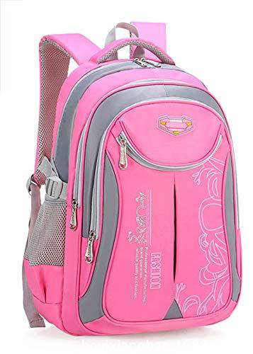 DULEE Mädchen Jungen Wasserdichte Schultasche Rucksack Reisetaschen Buch Tasche 6-12 Jahre Alt (Rosa/Groß)