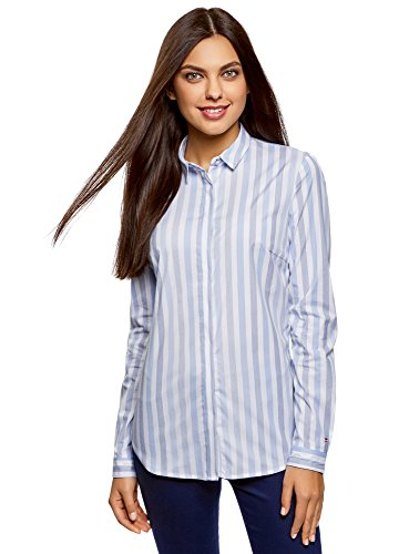 Oodji ultra donna camicia slim fit a righe, blu, it 44 / eu 40 / m
