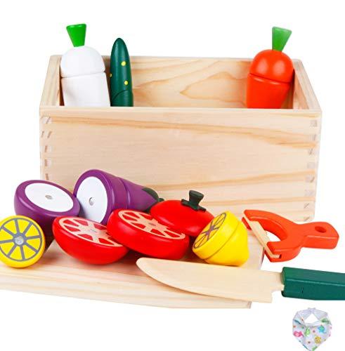 HUYIYI Küchenspielzeug Obst Gemüse Spielzeug Holz Schneiden Früchten und Gemüse mit Holzhacken Lebensmittelgruppen Bildung Spielzeug für 3 4 5 Kinder Kleinkinder Jungen Mädchen Rolle Erfahrung