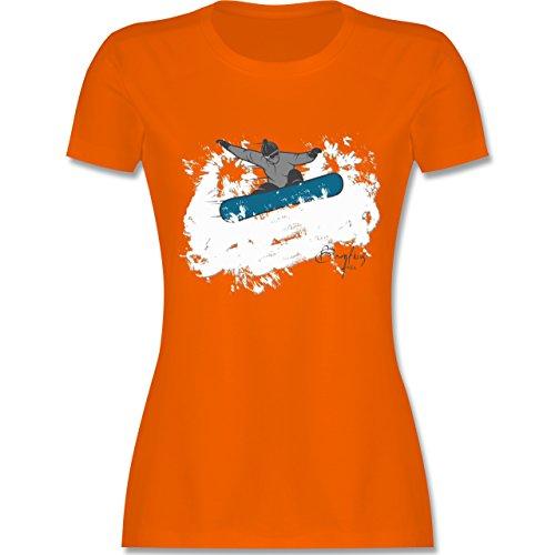 Wintersport - Snowboarder Schnee Fun - tailliertes Premium T-Shirt mit Rundhalsausschnitt für Damen Orange