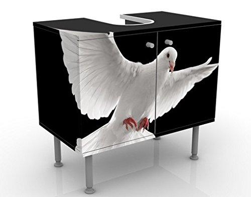 Meuble sous Vasque Design Dove of Peace 60x55x35cm, Petit, 60 cm de Large, réglable, Table de lavabo, Armoire de lavabo, lavabo, Meuble Bas, Baignoire, Salle de Bains, Armoire de Salle Bains