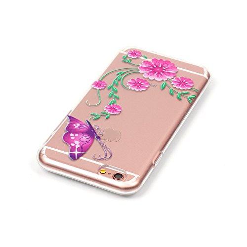 iPhone 6S Hülle,iPhone 6 Case - Felfy Ultra Slim Weicher Gel Flexible TPU Transparent Case Schutzhülle Silikon Ultradünne Hülle Retro Farbe Blumen-Totems Tupfen Gitter Muster Schutz Scratch-Resistant  Pink Butterfly