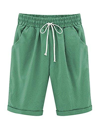 Mengmiao donna pantaloncini bermuda puro colore casual comode sciolto taglie forti shorts verde3 xl