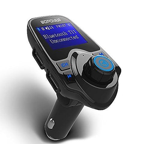 Transmetteur FM Bluetooth Voiture, GooBang Doo Récepteur Adaptateur Radio Sans Fil Appel Main-libre Chargeur USB et 3.5mm Port Audio, Carte TF, Écran d'Affichage 1.44 Pouces pour Smartphone