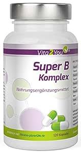 Super B Komplex - 120 Kapseln - Hochdosiert - Vitamin B1, B2, B3, B4, B5, B6, B7, B8, B9, B12 - Vitamin B Komplex - Premium Qualität - Made in Germany