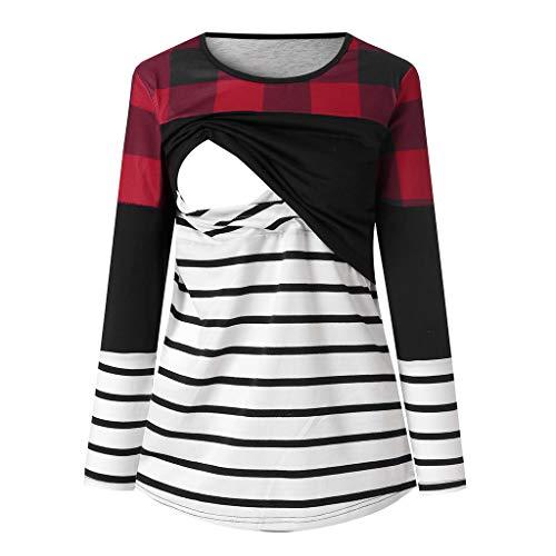 m Gestreifte T-Shirt Umstandsmode Bluse Stillen Baby Tuniken Herbst Umstandshirt Unterhemd Tops Schwangerschaft Basic Stillzeit Bauchfrei Oberteile ()