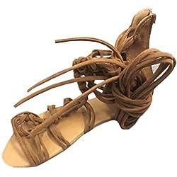 Sandalias mujer, Manadlian Sandalias altas Mujeres bohemias Zapatos casuales de verano (CN:39, Marrón)