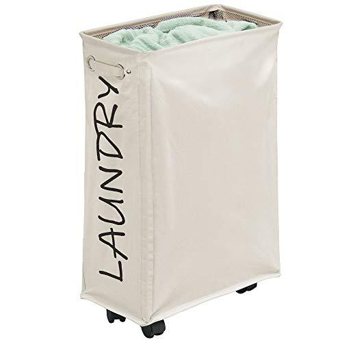 LuxUnik cesto para la Colada con Ruedas Cesta Plegable para la Colada Impermeable con Ruedas y Malla Adicional