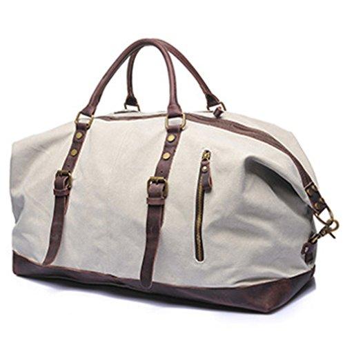 Tancurry vintage Canvas Reisetasche Sporttasche weekender Tasche Handgepäck für Damen und Herren mit Groß Kapazität - Dunkelgrau Beige weiß