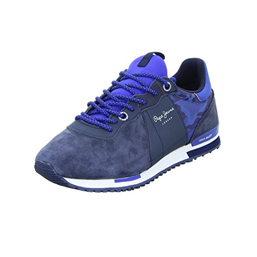 Pepe Jeans Tinker Racer Mix, Sneakers Basses Homme Bleu (Marine)