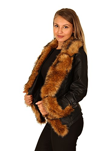 Fashion Wave Damen Kunstleder Jacke Winter Übergangs Biker Fell Kragen Schwarz-Braun
