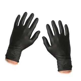 ASC schwarz Nitril Einweg-Handschuhe–Größe XL–Texturierte–Pulver und Latex frei–100Handschuhe (50Paar)