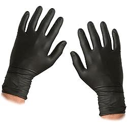 Saville negro guantes de nitrilo sin polvo tamaño: Small (1caja de 100guantes)