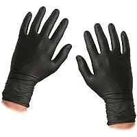 ASC - Guantes desechables de nitrilo, color negro, talla grande, texturizados, sin polvo ni látex, 100 guantes (50 pares)