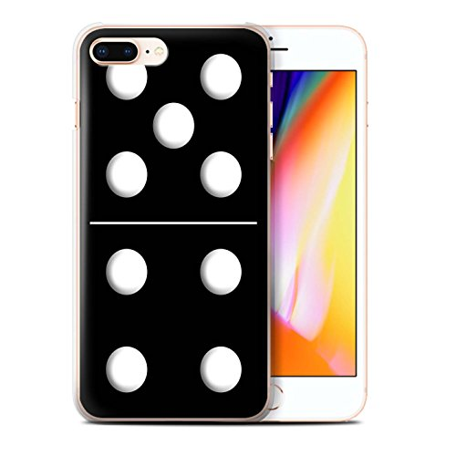 Stuff4 Hülle / Case für Apple iPhone 8 Plus / Schwarz Kachel 1/4 Muster / Domino/Dominos Kollektion Schwarz Kachel 5/4