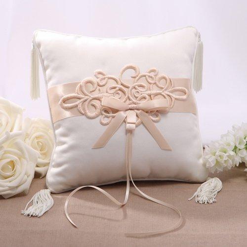 OnePlace Gifts Renaissance Hochzeit Ring der Kissen 19,8cm Satin Kordel Rand mit Quaste, (Champagner) (Kissen Grau Hochzeit Ring)