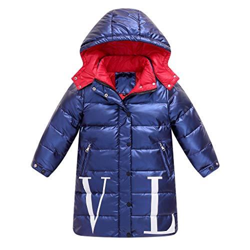 Livoral Kinder Winter MantelWasserdichte Jacke des Kindermädchenjungenwinters mit Kapuze Buchstabedaunenmantel(Blau,130)