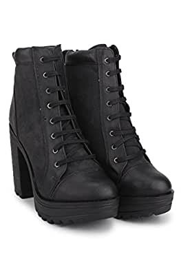 Knotty Derby Women's Black Synthetic Boot (6)