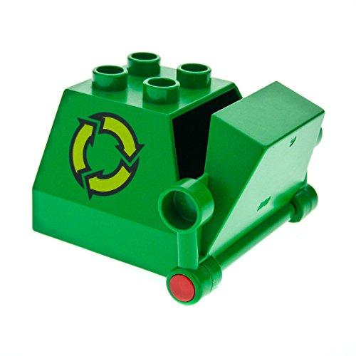 1 x Lego Duplo Müll Container grün für Recycling Auto Müllabfuhr Wagen Fahrzeug 2247c01pb01 (Grün Spielzeug-müll-lkw)