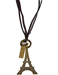 Pendant for boys with Fashionable Adjustable Eiffel Tower Leather Pendant For Mens with Leather chain | Gift for Boy friend Lover Brother, Party wear College gift Valentine Gift By Well Point