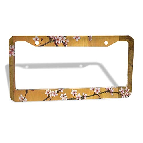 FunnyCustom License Plate Frame Japanese Art Personalized Aluminum License Plate Set Metal Tag Holder 12 x 6 Inch 2 Packs