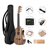 Caramel All Solid Acacia Ukulele 6 String Left Handed Acoustic/Electric Guitalele With Accessories