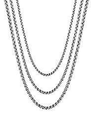 Idea Regalo - BESTEEL Gioielli in Acciaio Inossidabile 3 Pcs 2-4MM Collana Uomo Donna Catena di Rolo Cable Collane lunghe 46CM