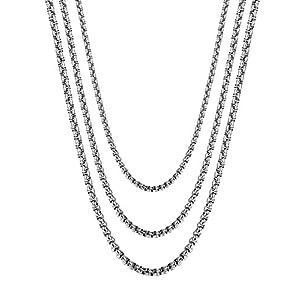 BE STEEL Schmuck 3 Pcs 2 3 4 MM Edelstahl Halskette für Herren und Damen Rolo Kabel Kette Länge 46-71CM