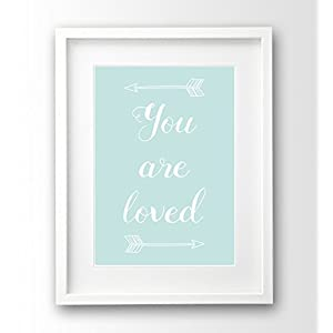 Babyzimmer Bild ungerahmt A4, türkis mint, you are loved Deko Pfeile
