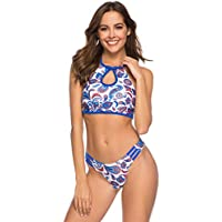 Mujer Ruffle Retro Alta Conjunto de Bikini Cintura Alta Acolchado Bra Push Up Tankini Estampado Floral Bohemio Impresión Bañador Trajes de baño Monokini Push Up Bikini Ropa de Playa