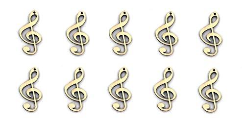 10er Set Streudekoration oder Anhänger Violinschlüssel Notenschlüssel aus Pappel-Sperrholz - Schönes Geschenk für Musiker