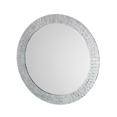 Croydex Meadley Circular Mirror with Mosaic Surround and Hang N Lock Fitting System, 600 x 600 x 10mm