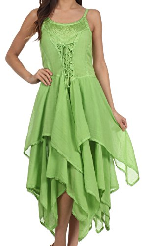 Sakkas 9031 Korsett-Art-Mieder-Jaquard-leichtes Taschentuch-Hem-Kleid - Frühlings-Grün - eine Größe