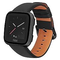 iBazal Lederen Armband Compatibel Met Fitbit Versa/Versa 2/Versa Lite Armband Leer Horlogeband Vervangingsarmband Voor Fitbit Blaze Band Lederen Band, Fitbit Versa 2 - Zwart
