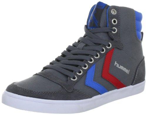 hummel Slimmer Stadil High 63-111-0528, Sneaker unisex adulto, Grigio (Grau (CASTLEROCK/RIBBONRED/BRIL BLUE 0528)), 42