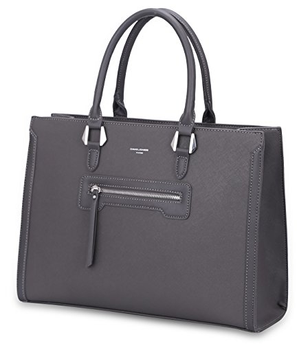 David Jones - Grand Sac  Main Femme - Cabas Fourre-Tout Cuir PU Rigide - Sac Elgant Ville Travai