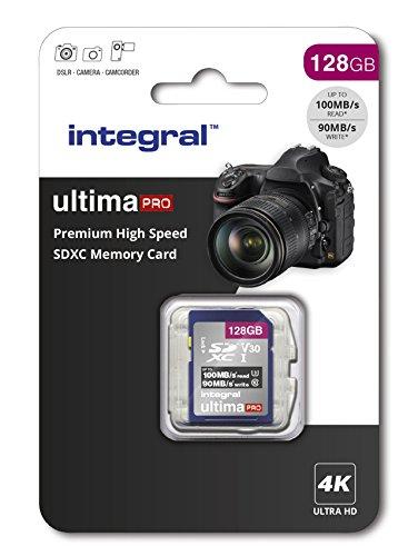Integral Carte Mémoire 128Go SDXC Premium Haute Vitesse jusqu'à 100MB/s Classe 10 V30 UHS-I U3