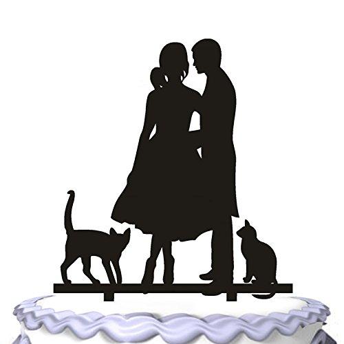 meijiafei Hochzeit Tortendekoration Braut und Bräutigam mit PET Katzen Party Dekoration