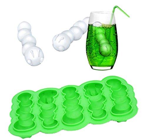 Raupe Eiswürfelschale DIY Eis am Stiel Eis Schimmel Hirolan Eiswürfel Eiswürfel-bereiter Eiswürfel-behälter Silikonform Eis Formen Eis Lolly Makers (Grün)
