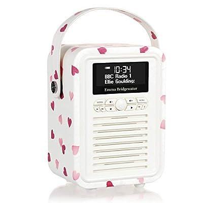 VQ Portable Retro Mini DAB and DAB+ Digital Radio with FM, Bluetooth, Aux, USB, Alarm Clock - Emma Bridgewater Pink Hearts by VQ