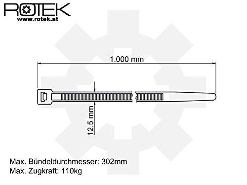 Rotek Kabelbinder 1.002mm (1m) lang, 12,5mm breit – Farbe: Schwarz (UV-beständig) – 50 Stk. Packung - 3