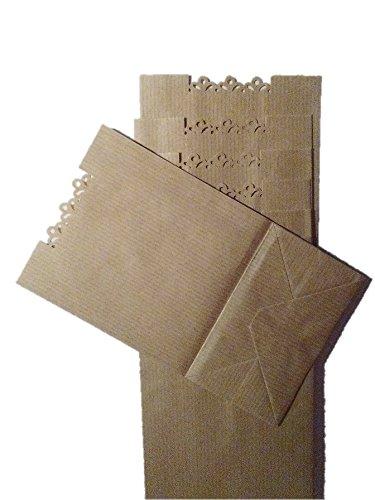50 bolsas de papel kraft troqueladas 10 x 23 cms