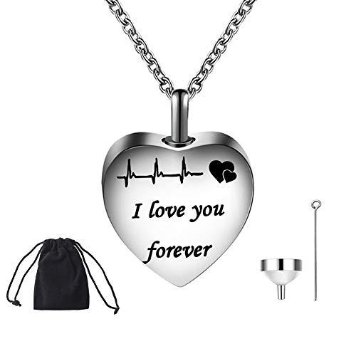 XIYAO Herz Feuerbestattung Urne Halskette für Asche, Andenken Memorial Urne Halskette für Asche Funnel Filler Kit, Ich Liebe Dich für Immer Herzförmig -