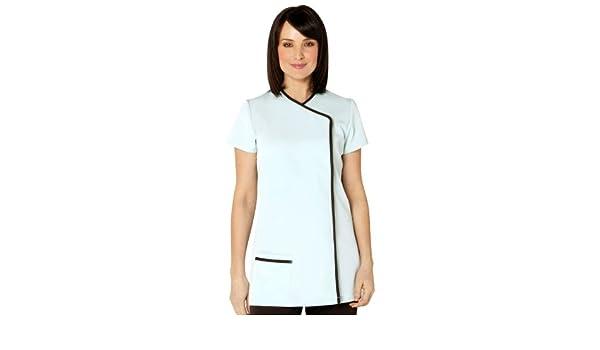 57738f813a7 Salonwear Uniforms for Beauty - 'Charm' Tunic DUCK EGG/CHOCOLATE trim size  26: Amazon.co.uk: Clothing