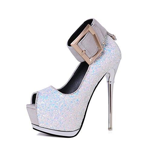 FLYRCX Unione sexy piattaforma impermeabile tacco fine lady alta partito scarpe tacco D