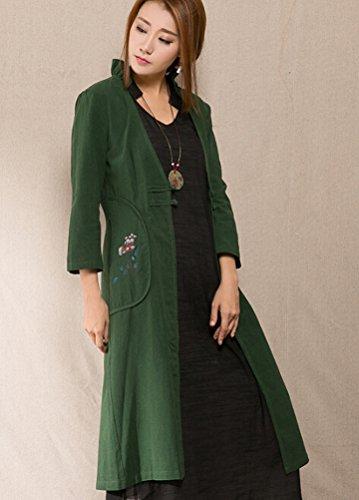 MatchLife Femmes Imprimé Plate Buton Manteau Vert