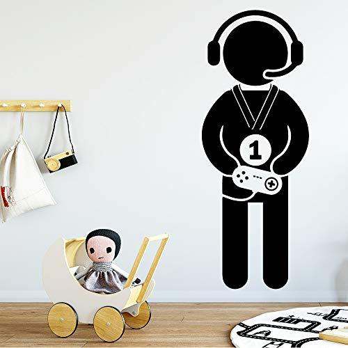 ame Boy Wandaufkleber Vinyl Wasserdicht Dekoration Zubehör Dekor Wand Grau L20 cm X 52 cm ()