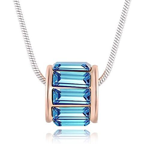 City Ouna® 18K Swarovski elementos azul mujer Opal cristal rosa oro colgantes collares de moda para mujeres